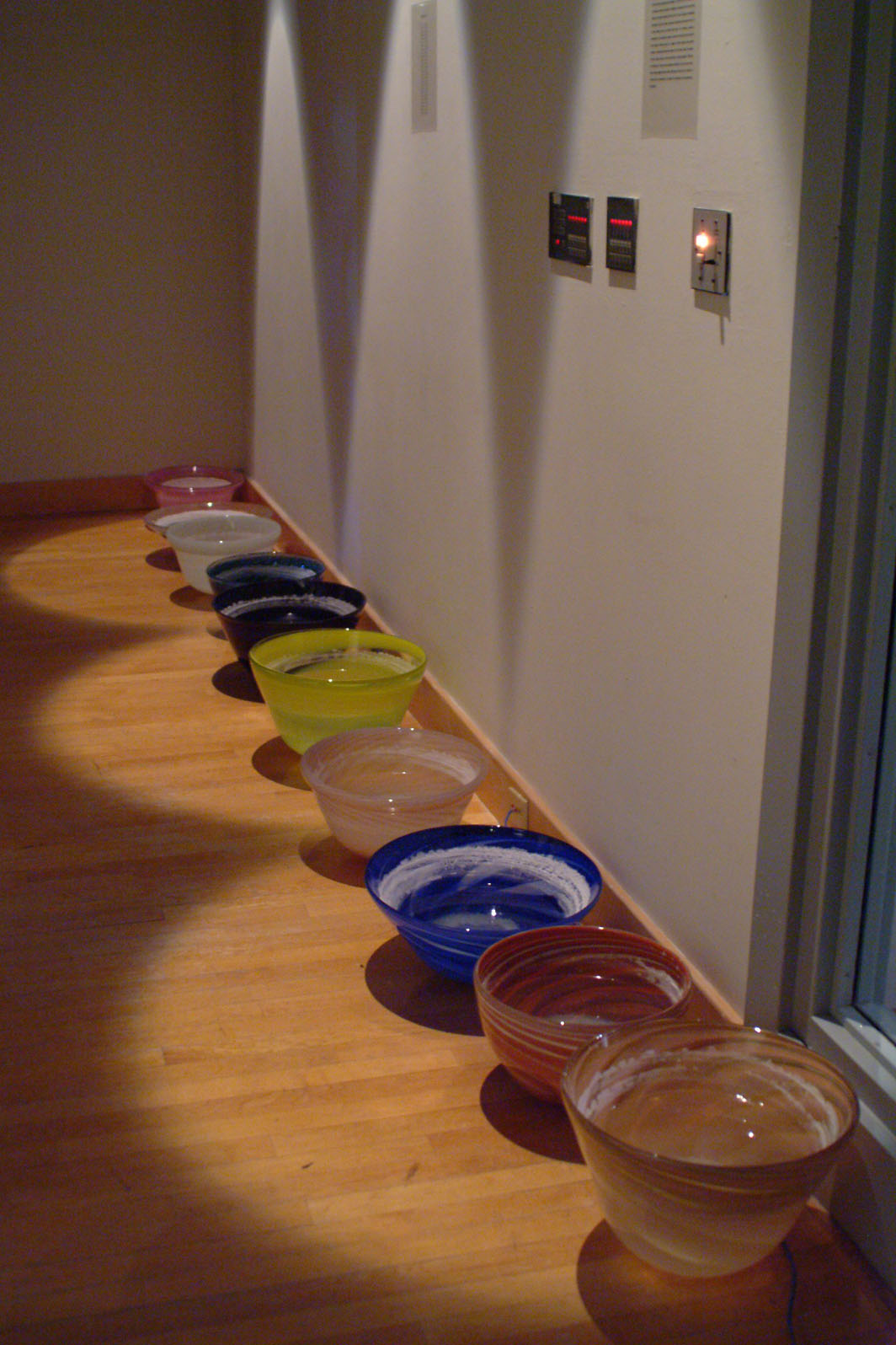 36 blown glass vesils containing sea water dimentions 18